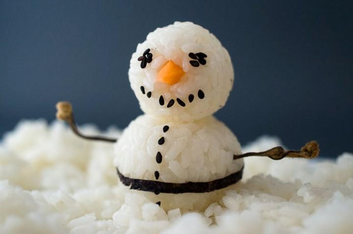 Temari sushi snowman © Camille Oger