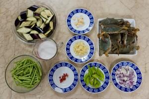 Ingrédients crabes et crevettes au lait de coco © Quentin Gaudillière
