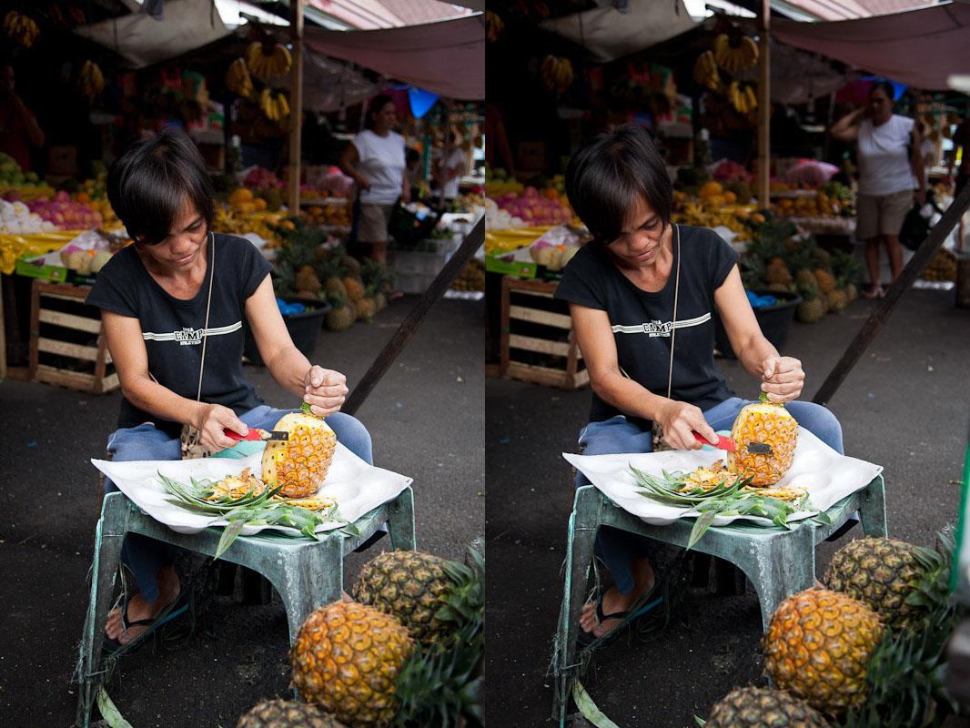 Prélever l'écorce de l'ananas © Quentin Gaudillière