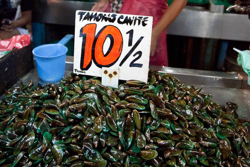 10 pesos le demi kilo de moules, soit 15 centimes © Quentin Gaudillière