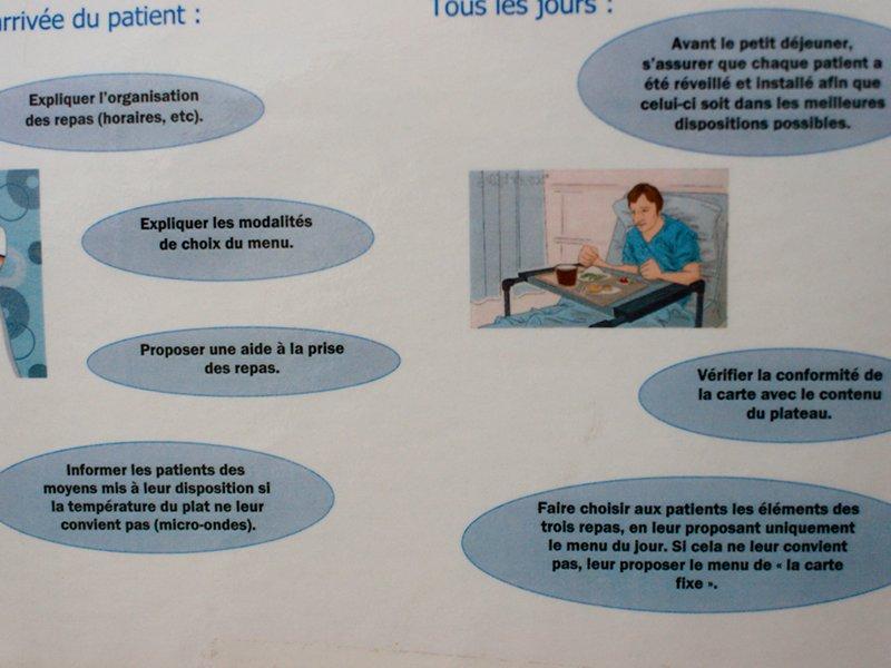 Explication du déroulement des repas à l'hôpital Tenon Paris © Camille Oger