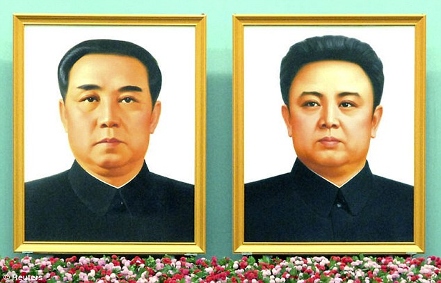 Kim Il-sung et Kim Jong-il 