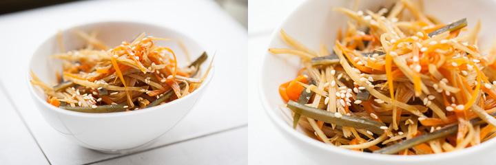 Kinpira gobo ou salade de bardane © QG