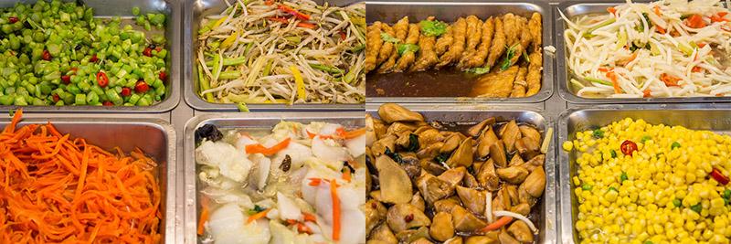 Régime bouddhiste taïwanais : tofu, maïs, soja, racines et légumes verts © Camille Oger