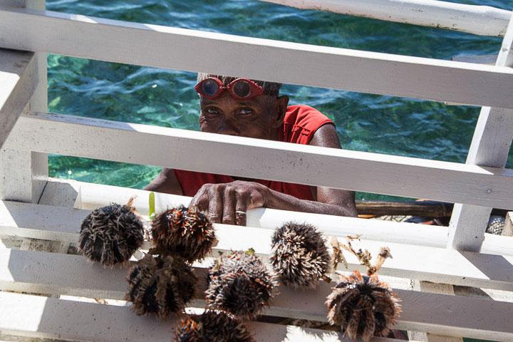 Pêcheur d'oursins mitres, Philippines © Quentin Gaudillière
