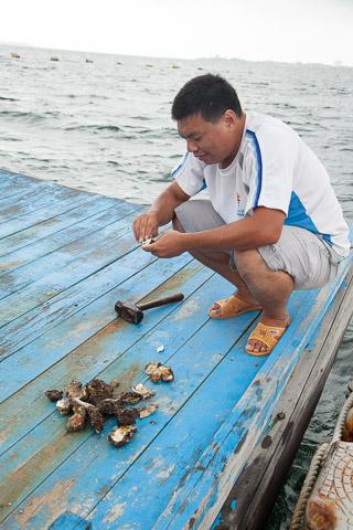 Biologiste taïwanais mangeant des huîtres © Quentin Gaudillière
