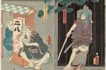 Japonais mangeant des soba accroupi, époque Edo