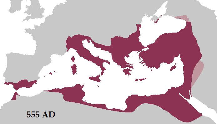 Empire byzantin en 555