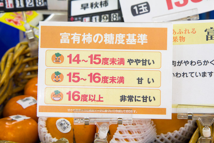 Dates idéales de consommation des kakis dans un supermarché © Camille Oger