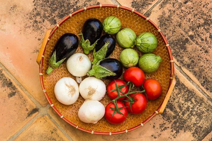 Courgettes, aubergines, oignons et tomates pour farcis © Camille Oger