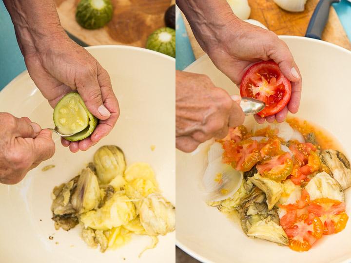 Courgette et tomate creusées © Camille Oger