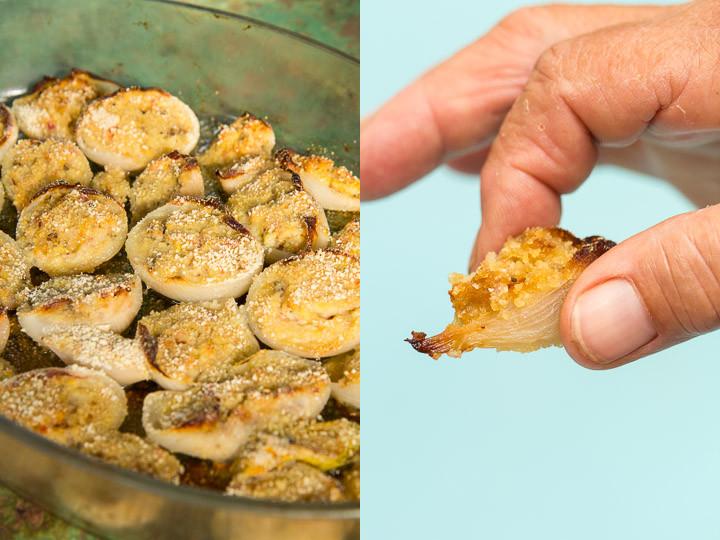 Plat d'oignons farcis et bébé à manger © Camille Oger