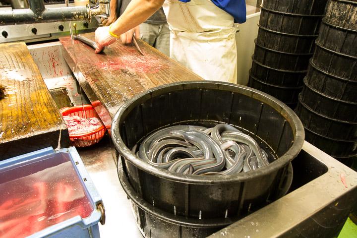 Cuisine d'un restaurant d'anguilles à Hiroshima © Camille Oger
