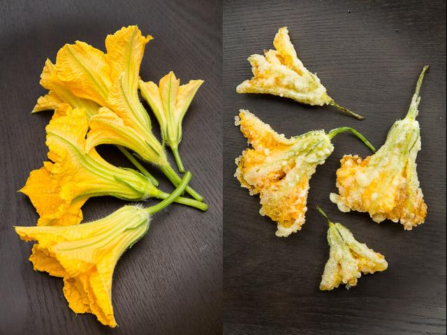 Fleurs de courgette crues / en tempura © Camille Oger
