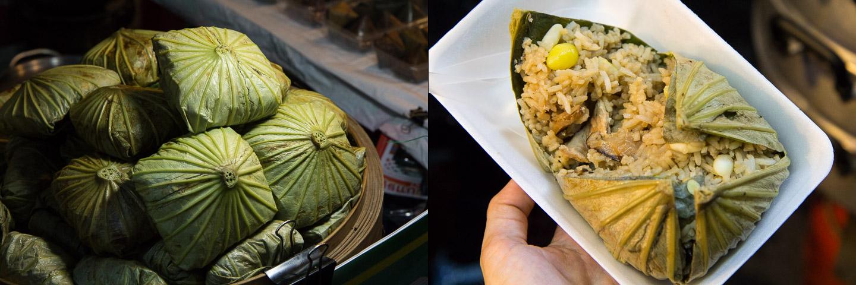 Lo mai gai, feuilles de lotus fourrées de riz ©Camille Oger