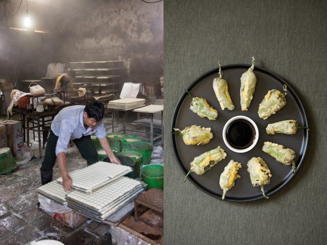 Atelier de tofu en Chine et beignets de piment farcis au tofu - gochu twigim en coréen © Camille Oger