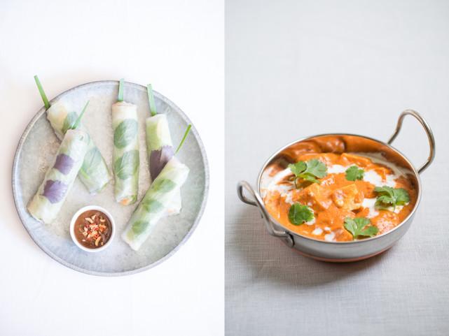 Rouleaux de printemps végans et butter tofu © Camille Oger