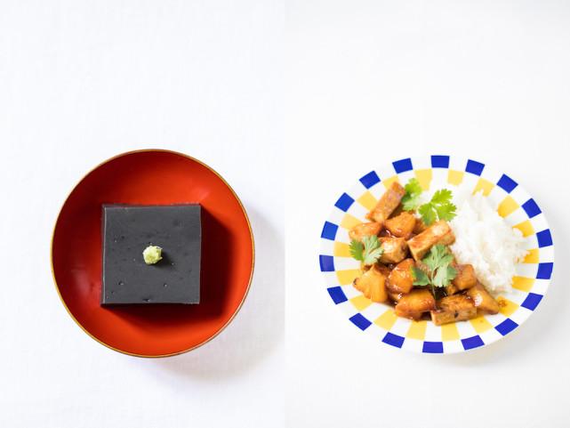 Tofu de sésame noir et tofu braisé à l'ananas © Camille Oger